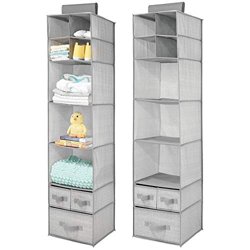 mDesign Soft Fabric Over Closet Rod Hanging Storage Organizer with 7 Shelves and 3 Removable Drawers for Child/Kids Room or Nursery – Herringbone Print, 2 Pack – Gray