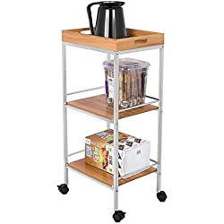 BirdRock Home 3-Tier Rolling Bar Serving Cart | Kitchen Bathroom Trolley Locking Wheels | Removable Trays | Portable Metal Utility Storage | Tea Coffee Drink Home Cart