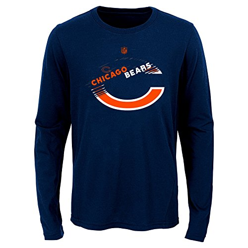 Bears Youth Apparel - NFL Chicago Bears Youth Boys Flux Long Sleeve Ultra Tee Dark Navy, Youth Small(8)