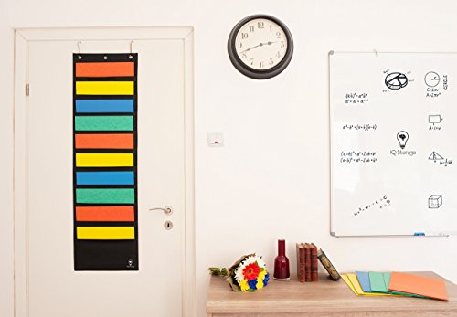 Hanging File Organizer By IQ Storage: 10 Pocket Wall Mounted Folder Holder, With 2 Door Hooks, For Organizing Papers, Documents Supplies In Classroom, Office And Nursery - Heavy Duty 600D Polyester Photo #3