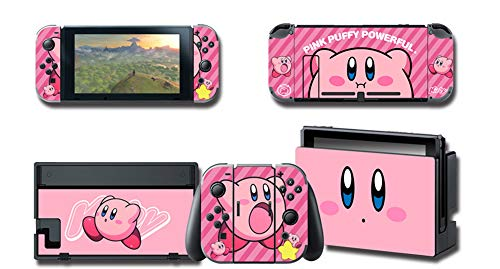 Full Set Protection Faceplate Console Joy-Con Dock Protector Wrap Skin Decal for Nintendo Switch, Games Full Set Protective Faceplate Stickers Console Joy-Con Dock(Kirby Series) (1) from ALLPE