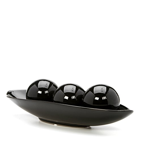 Large Product Image of Hosley's Black Decorative Bowl and Orb Set. Ideal GIFT for Weddings, Special Occasions, and for Decorative Centerpiece in Your Living / Dining Room O3