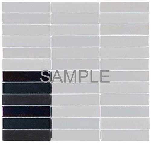 Modket TDH68MO-S Sample Black Crystal Glass Mosaic Tile, Iridescent, Matte Blend Stacked Pattern Backsplash ()