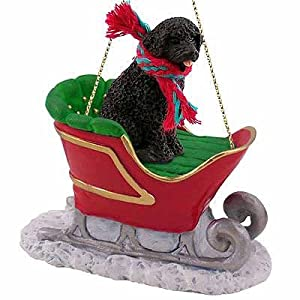 Portuguese Water Dog Sleigh Ride Christmas Ornament - DELIGHTFUL! by Conversation Concepts 13