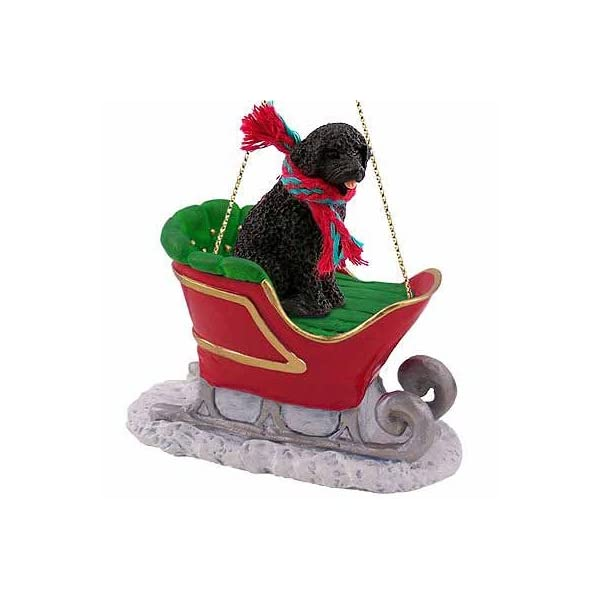 Portuguese Water Dog Sleigh Ride Christmas Ornament - DELIGHTFUL! by Conversation Concepts 1