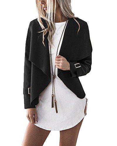 Minetom Donna Invernale Elegante Manica Lunga Aperto Davanti Colletto Cappotto Casual Giacca Blazer Corto Cardigan Kimono Giubbino Coat Nero
