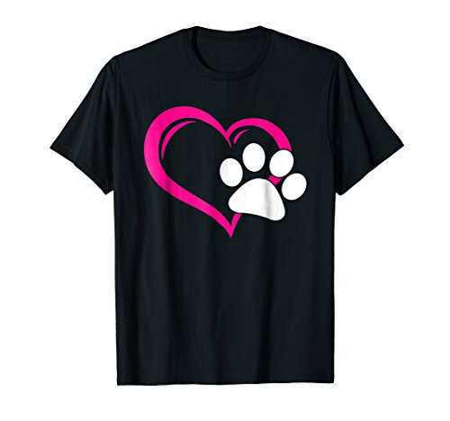 Cute I Love My Dog Puppy Cat Paw Heart T-Shirt ()