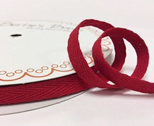Bertie's Bows 10mm Red Cotton Herringbone Tape/Webbing on a 4m Length (N.B. this is a cut from a roll, presented on a Bertie's Bows card) Bertie's Bows