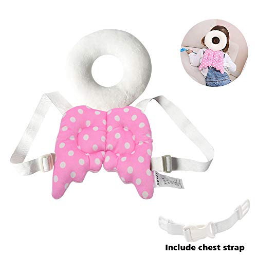 Baby Head Protector Baby Toddlers Head Safety Pad Cushion Baby Back Protection Prevent Toddlers Injured Suitable Age 4-24 Months[Angel Wing Pink]
