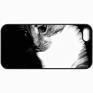 Customized Cellphone Case Back Cover For iPhone 5 5S, Protective Hardshell Case Personalized Black And White Cat Black