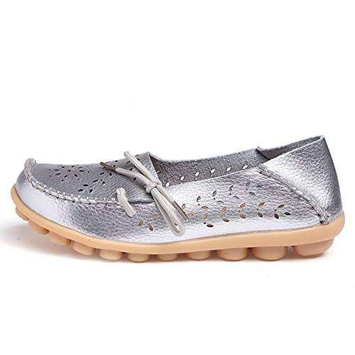 Blivener Womens Casual Lace-Up loafers Hollow Flat shoes Summer Slippers Silver ym7GJgr4