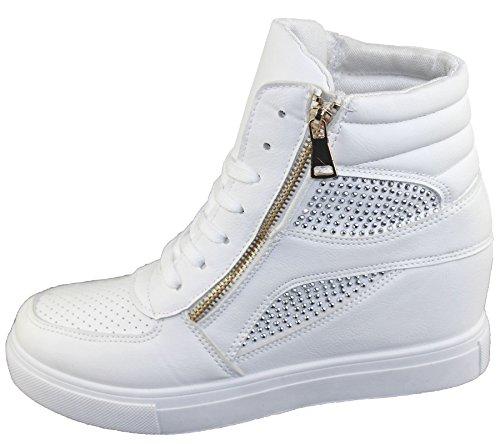 Womens Faux Cuir Talon Haut Compensé Haut Bottes Dames Filles Baskets Cheville Chaussures Blanches Formateurs