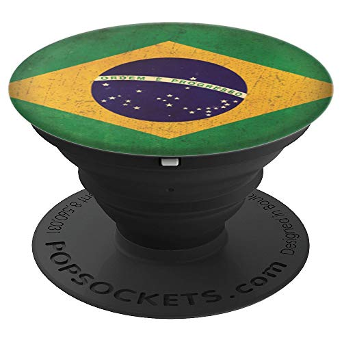 Love Brazil Flag Art Vintage Brazilian Roots Culture Gifts - PopSockets Grip and Stand for Phones and Tablets ()