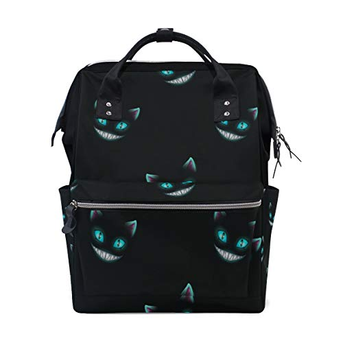 Disappear Cat Smile Face Large Capacity Diaper Bags Mummy Backpack Multi Functions Nappy Nursing Bag Tote Handbag for Children Baby Care Travel Daily Women]()