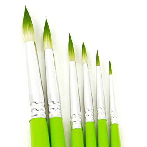 (Detail Paint Brush Set CONDA Short Wood Handle Green for Detailing & Art Painting - Acrylic, Watercolor, Oil,Models, Airplane Kits, Nail Artist Supplies)