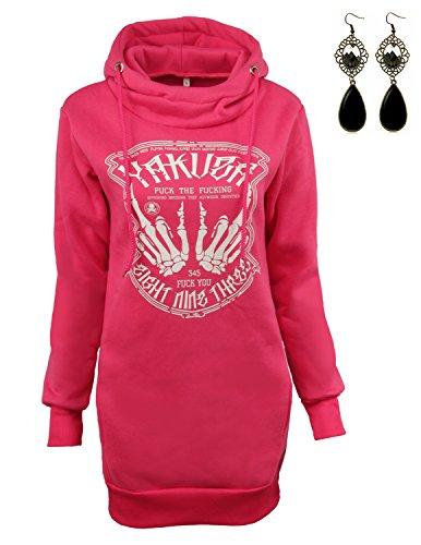 Sitengle Mujer Sudadera con Capucha Abrigo Largo Manga Larga Casual Sweatshirt Pullover Tops Rojo