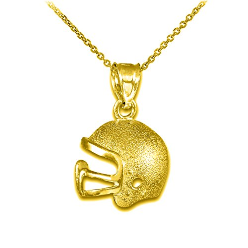 10k Yellow Gold Football Helmet Sports Pendant Necklace, 18