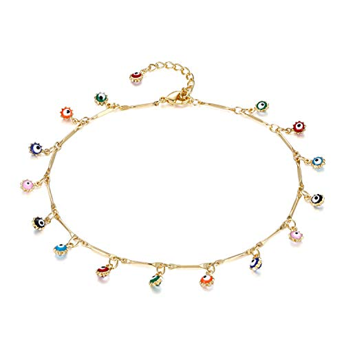 Valloey Women Girls Handmade Dainty Anklet Silver 14K Gold Filled Bead Boho Beach Rhinestone Foot Chain Multi Colored Evil Eye Adjustable Ankle Bracelet for Women(ANK-Evil Eye)