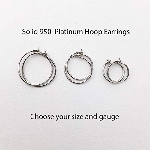 (Solid 950 Platinum Hoop Earrings. 1 Pair in your Choice of size 8mm, 10mm or 12mm Handmade)