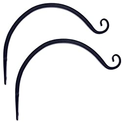 GrayBunny GB-6838B Hand Forged Curved Hook, 8.5 Inch, Black, 2-Pack, For Bird Feeders, Planters, Lanterns, Wind Chimes, As Wall Brackets and More!