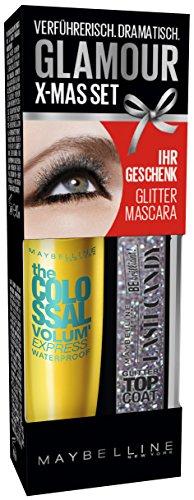 Maybelline New York Augen Make-Up Set Mascara The Colossal Volum' Express waterproof Glam Black plus glitzer Top Coat (einmal Auftragen - kolossales Volumen) glanz schwarz von Maybelline New York