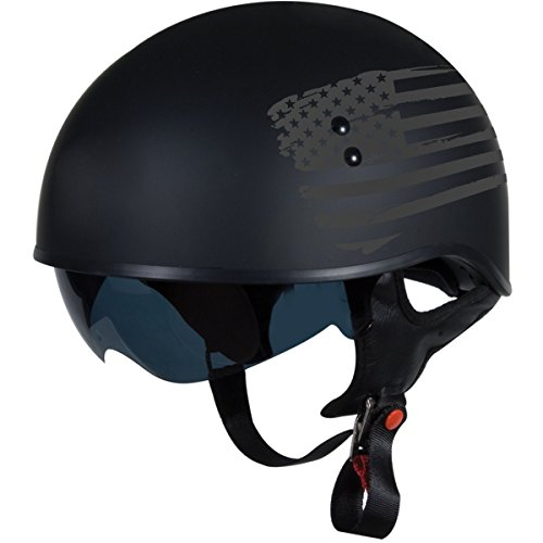 "TORC T55 Spec-Op Half Helmet with 'Flag"" Graphic (Flat Black, - Oval For Specs Face"