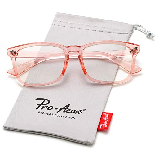 Pro Acme Non-prescription Glasses Frame Clear Lens Eyeglasses (Z3 Clear Pink)