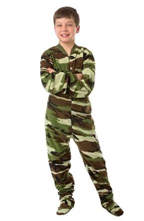 Amazon Com Big Feet Pjs Kids Camo Fleece Footed Pajamas