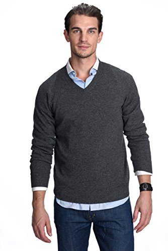 Cashmere Like Cardigan Sweater - State Cashmere Men's 100% Pure Cashmere Long Sleeve Pullover V Neck Sweater (XX-Large, Charcoal)