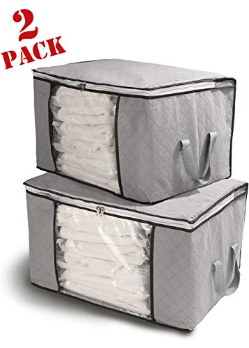 - Fastorm Large Storage Bag Closet Organizers for Cloth, Blankets, Quits, Comforter with Large Clear Window, 2 Piece Set, Dark Grey