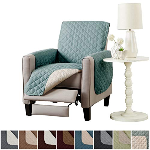 - Home Fashion Designs Deluxe Reversible Quilted Furniture Protector and PET Protector. Two Fresh Looks in One. Perfect for Families with Pets and Kids Brand. (Recliner, Blue Silver)