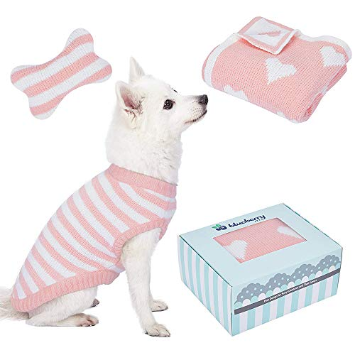 """- Blueberry Pet 2019 New Puppy Gift Box with Pack of 3 Chenille Products in Baby Pink - Ultra Soft Cozy 12"""" Dog Sweater, Lightweight Valentine Heart Blanket for Puppy Bed and Bone Shaped Pillow/Toy"""
