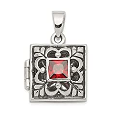 ICECARATS DESIGNER JEWELRY 925 STERLING SILVER RED GARNET PHOTO PENDANT CHARM LOCKET CHAIN NECKLACE THAT HOLDS PICTURES                              Material Purity : 925         Stone Type 1 : Garnet         Stone Color 1 : R...