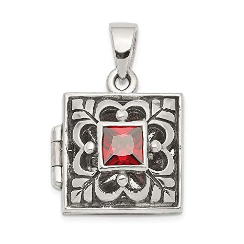 925 Sterling Silver Red Garnet Photo Pendant Charm Locket Chain Necklace That Holds Pictures Fine Jewelry For Women Valentines Day Gifts For Her from ICE CARATS