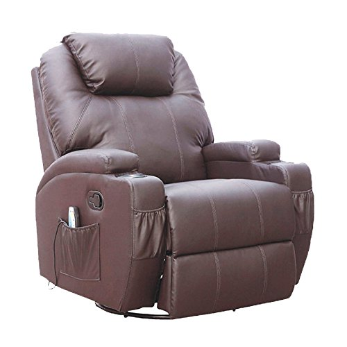 Leather Ergonomic Recliner - SUNCOO Massage Recliner Bonded Leather Chair Ergonomic Lounge Heated Sofa with Cup Holder 360 Degree Swivel Manual Recliner-Brown-10 in 1