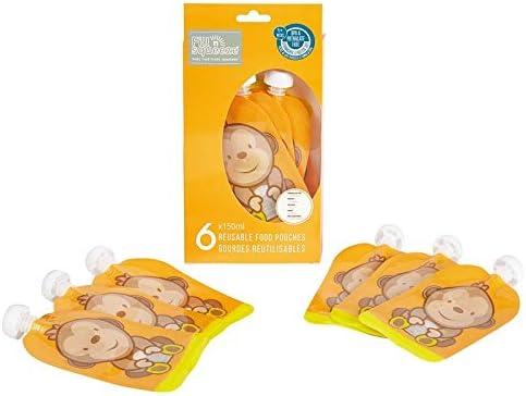 Fill n Squeeze la bolsa reutilizable de abertura inferior para facilitar la limpieza. 6x150ml bolsas. Perfectas para destete, viajes, puré de frutas, alimentos orgánicos y caseros para bebés.