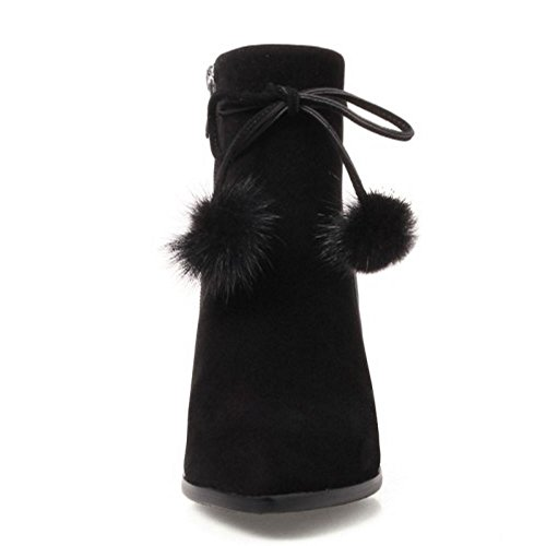 Heel Black Ladies Booties Pointed Block with COOLCEPT Toe Ankle Fashion Zipper w4Xq0qxdv