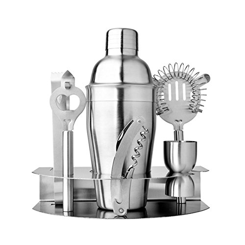 INorton Stainless Steel Cocktail Shaker Kit 7 Piece 550ml Cocktail Shaker,counting cup,hippocampal knife,strainer,ice clip,cheese knife,stainless steel wine stand (Bed Martini Set)