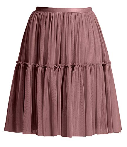 - Women's Floral High Waist Drawstring Ruffle Flared Boho A-Line Pleated Skater Mini Skirt (Mesh Coffee, S)