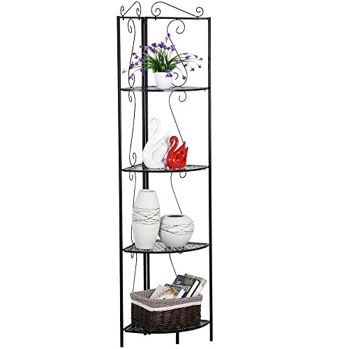World Pride Black 4-Tier Metal Art Corner Stand Shelf For Bathroom Kitchen,19.7 x 14.8 x 69.9'' (LxWxH))