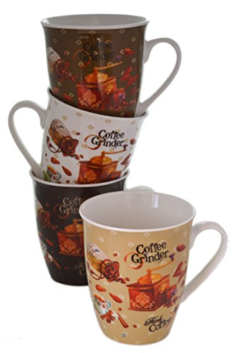 Set 4 Assorted Retro 12oz Bone China Beans & Vintage Grinders Coffee Cups Mugs
