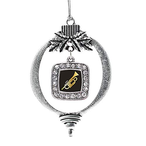 Inspired Silver - Trumpet Charm Ornament - Silver Square Charm Holiday Ornaments with Cubic Zirconia Jewelry (Tree Trumpet O Christmas)