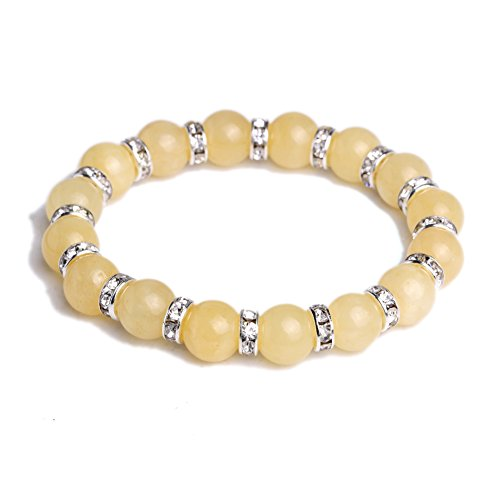 JDZ Amulets 10mm Chakra Stone Reiki Healing Beaded Elastic Stretch Handmade Crystal (Yellow Jade Beaded Bracelet)