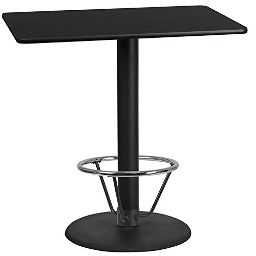 24'' x 42'' Restaurant Bar Height Table with Black Laminate Top and Foot Ring