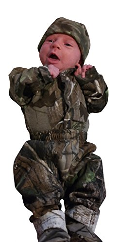 Mossy Oak Baby Boys 4 PC Outfit: LS Onesie, Pant, Cap & Booties, Made in USA