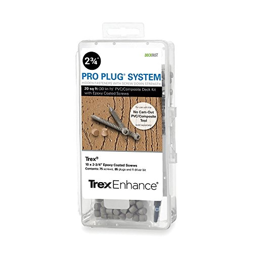 Pro Plug PVC Plugs and Epoxy Screws for Trex Clam Shell Decking, 85 Plugs for 20 sq ft, 75 Epoxy Screws by Pro Plug