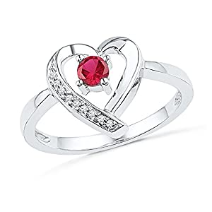 Size - 4.5 - Solid 925 Sterling Silver Round Red Simulated Ruby And White Diamond Engagement Ring OR Fashion Band Prong Set Solitaire Shaped Heart Ring (.03 cttw)