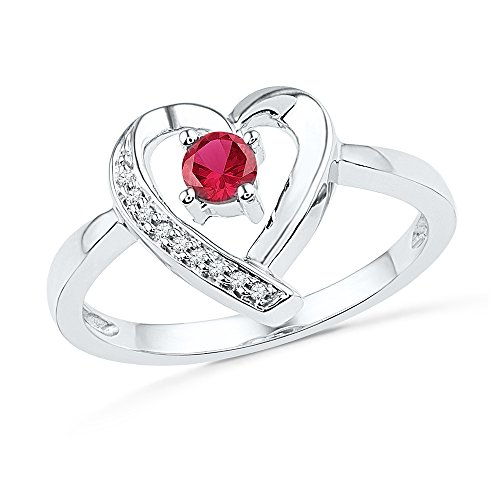 Jewel Tie Size - 7.5-10k White Gold Round Red Simulated Ruby And White Diamond Fashion Band OR Engagement Ring Prong Set Solitaire Shaped Heart Ring (.03 cttw.)