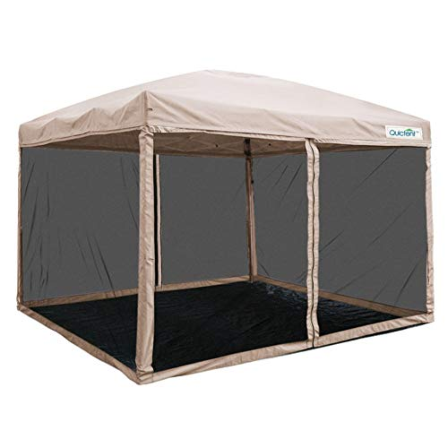 Quictent 8×8 Easy Pop up Canopy Screen with Netting Instant Pop up Screen House Tent Mesh Sides with groundsheet (Tan)