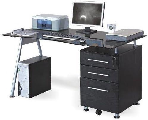 hjh OFFICE 673945 NERO - Mesa de Ordenador negro / en cristal ...
